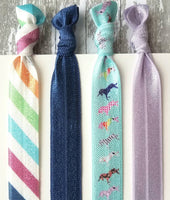 Unicorn Accessory Set - hair tie elastic ribbon band ponytail holder - prancing horn stripe blue purple rainbow colorful ladies girls gift - Constant Baubling
