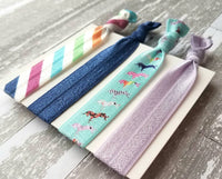 Unicorn Accessory Set - hair tie elastic ribbon band ponytail holder - prancing horn stripe blue purple rainbow colorful ladies girls gift