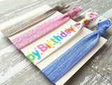 Happy Birthday Hair Accessory Set - elastic tie stretch ribbon ponytail holder band - sprinkles pink purple party favor glitter sparkle gift