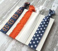 Baseball Accessory Set - hair elastic navy blue / orange / white coach game fan team mom gift - tie knot stretch ribbon girl ladies ponytail
