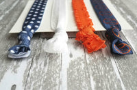 Baseball Accessory Set - hair elastic navy blue / orange / white coach game fan team mom gift - tie knot stretch ribbon girl ladies ponytail - Constant Baubling