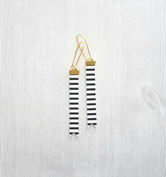 Black White Stripe Earrings - faux leather extra long flag pennant narrow tag style nautical theme - gold locking kidney ear wire - vegan - Constant Baubling
