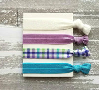 Spring Plaid Hair Set - turquoise aqua blue / lilac purple check / green / white glitter sparkle elastic tie band bow Easter ponytail holder
