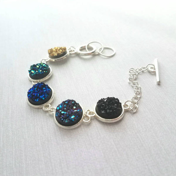 Druzy Bracelet - faux drusy stone jagged peak rock - blue black teal green gold purple silver frame link colorful metallic modern toggle