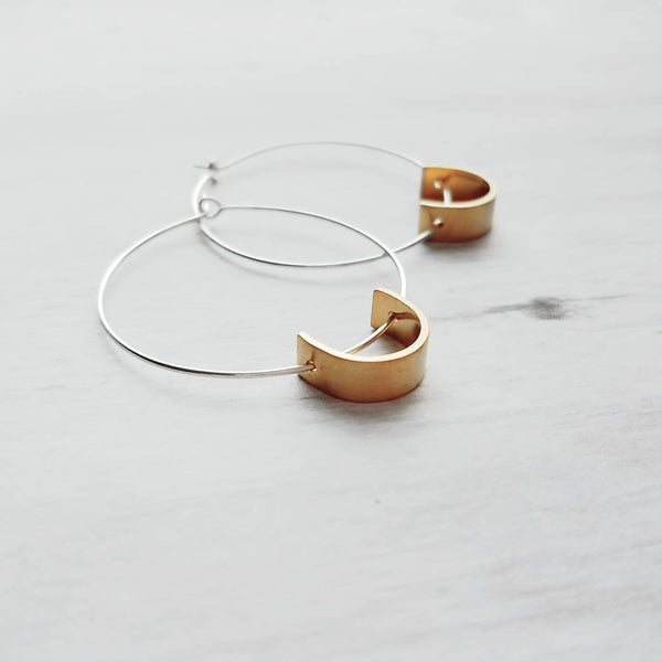 Sterling Silver Hoop Earrings - simple 925 sterling circles - gold brass semi / half circle - minimalist every day round lightweight unique
