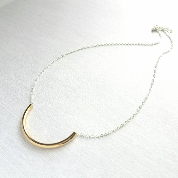 Curved Tube Necklace - dainty minimalist mixed metals silver / gold U shape arc semicircle - simple delicate chain every day layering piece