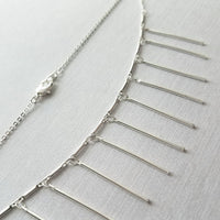 Fringe Necklace - silver tassel style dangle sticks / tubes - delicate dainty fine small link chain - minimalist layering piece - boho layer