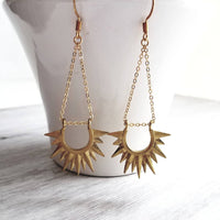 Gold Sun Earrings - sunburst ray sunshine semicircle shape - long delicate chain dangle - solid brass / gold plating point spear dagger
