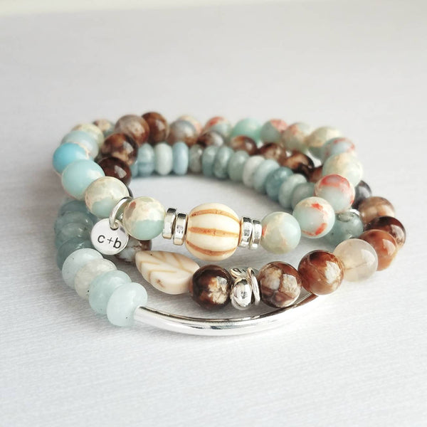 Stone Bracelet Stack Set - blue Amazonite / aqua terra jasper African opal - brown crackle fire agate genuine gemstone - silver plated gift