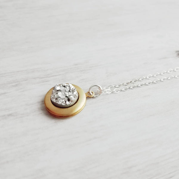 Small Locket Necklace - .925 sterling silver chain / solid brass keepsake - faux imitation druzy / drusy stone - memory special gift memento
