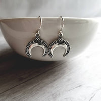 Small Horn Earrings - silver crescent moon celestial dangles - little Bali style beaded ball edge - antiqued - dainty sterling hook upgrade