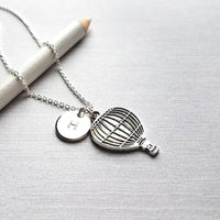 Hot Air Balloon Necklace - personalized initial/letter charm - small silver antique finish Balloonfest pendant - delicate dainty chain - Constant Baubling