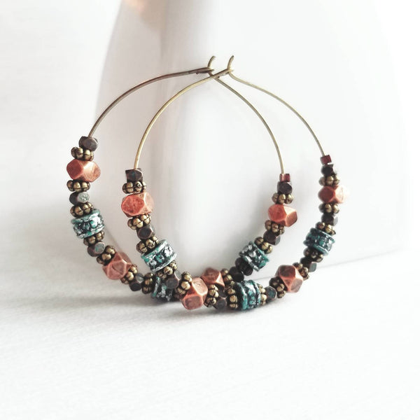 Beaded Hoop Earrings - antique bronze brass metal - copper / blue / green patina small beads - boho tribal western bohemian gypsy handmade