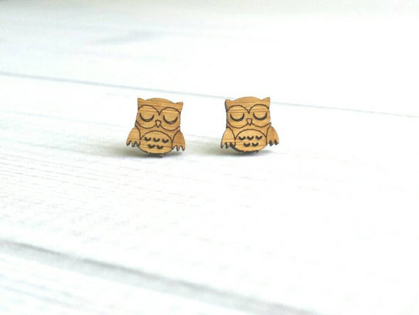 Owl Stud Earrings - small chubby wood birds - surgical stainless steel posts / backs - hypoallergenic cute gift sleeping little owlet