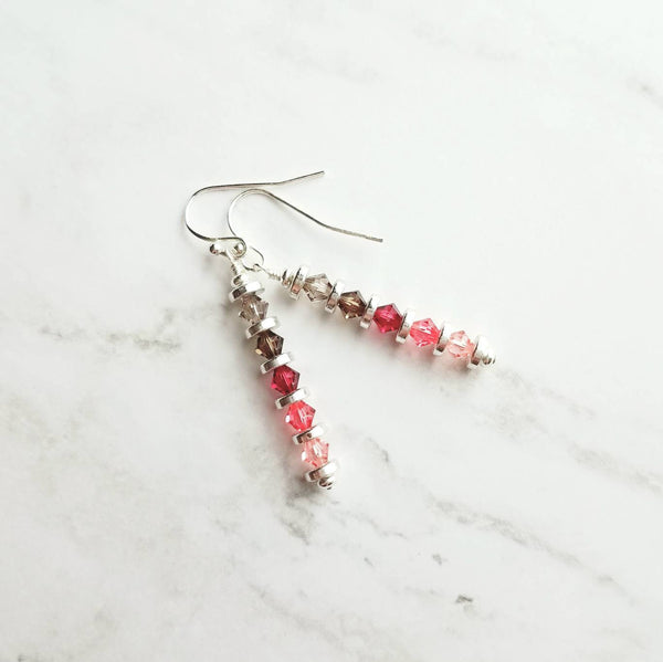 Pink Crystal Earrings - thin line narrow stack Swarovski - silver coin discs - ombre grey pink - hot fuchsia watermelon baby / smoke gray