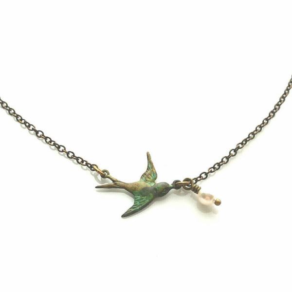 Tiny Bird Necklace - blue green brass patina sparrow and Swarovski pearl bead - simple delicate antique bronze chain - minimalist