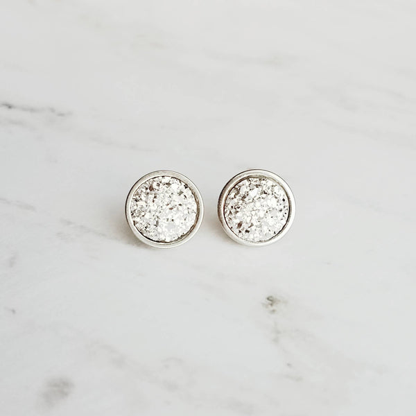 Small Silver Studs - faux druzy stone - little simple round rough jagged bumpy rock - hypoallergenic stainless surgical steel posts drusy