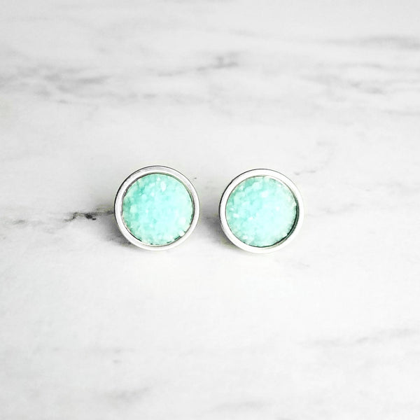 Mint Silver Earrings - light pale blue faux druzy stone round rough jagged bumpy rock - hypoallergenic stainless surgical steel posts drusy