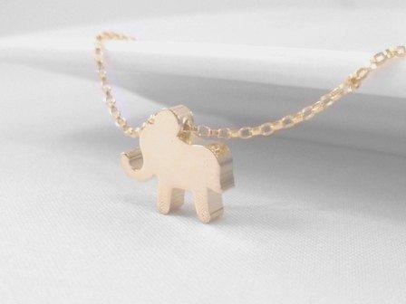 Baby Elephant Necklace - small simple gold / silver charm slider - delicate sterling silver / 14K gold filled rolo chain - good luck pendant