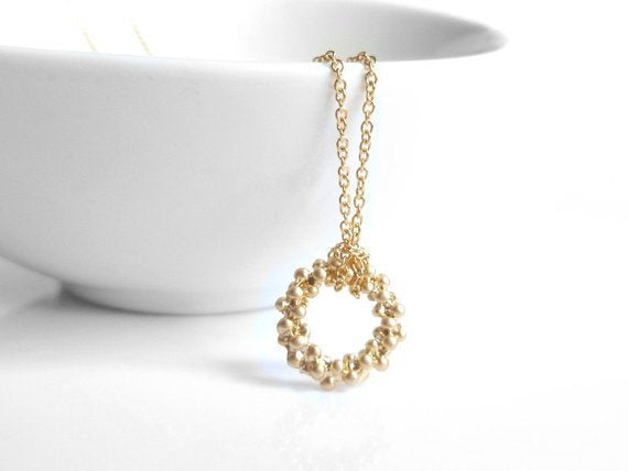 Gold Circle Necklace - small ring of tiny bubbles in matte finish on delicate thin gold-plated chain - geometric trendy pendant