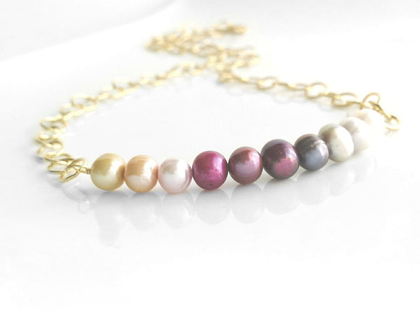 Pearl Necklace - gold / ombre pink row genuine freshwater multicolor pastels - preppy gradient shaded white cream purple grey peach fuchsia