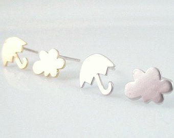 Rainy Day Earrings - tiny pair mismatched umbrella / rain cloud storm weather minis - .925 sterling silver ear posts- CHOOSE SILVER or GOLD