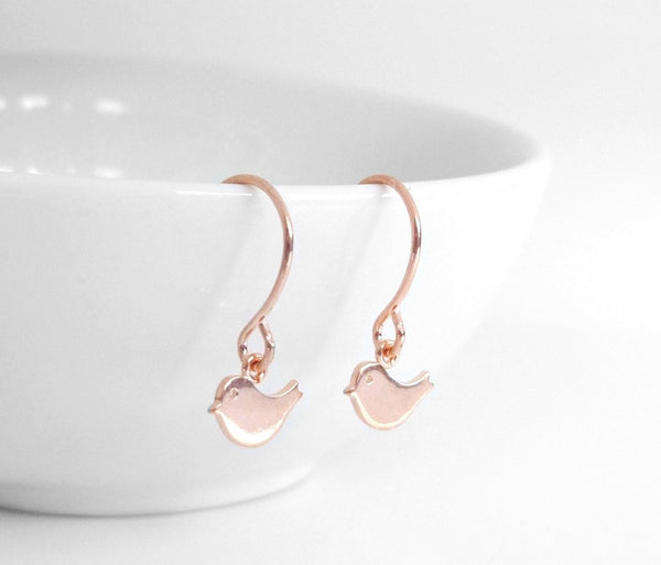 Rose Gold Bird Earrings - little pink gold baby birds on small simple rose gold ear hooks - minimalist tiny chubby sparrow dangles