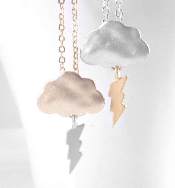 Thunder Storm Necklace - mixed metal gold and silver rain cloud pendant with lightning bolt charm dangle - BOOM - Constant Baubling