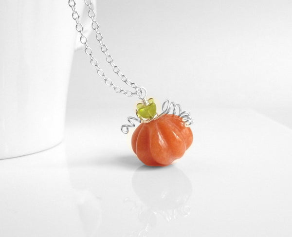 Pumpkin Necklace - orange jade stone with glass and delicate silver wire wrapped vine - simple little silver plate chain harvest fall autumn