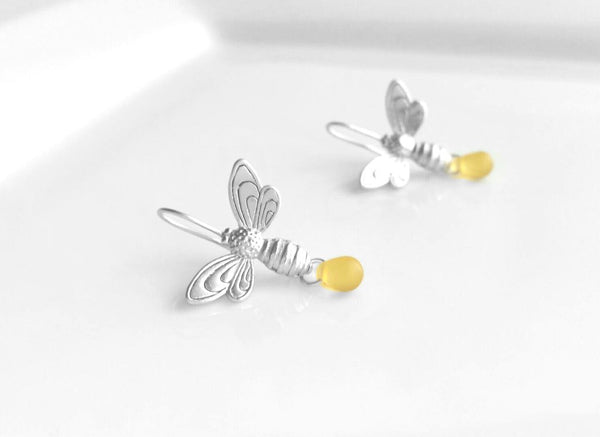 Bee Earrings - silver matte finish flying honeybee hooks with small simple glass honey drop dangle - fresh from the hive - bumblebee buzz