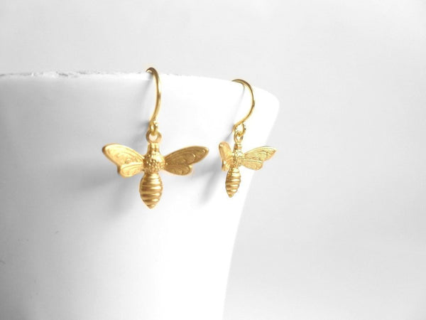 Gold Bee Earring - small brass bumblebee charm dangle on little gold plated brass hooks - simple sweet honey bee