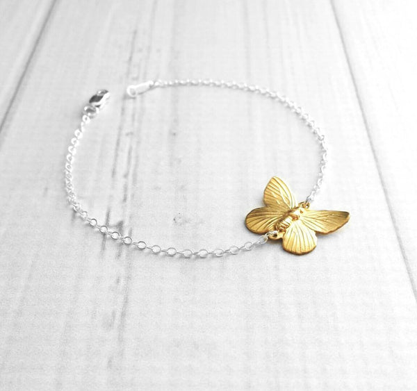 Butterfly Bracelet - sterling silver / gold color mixed metal two tone - thin fine delicate chain - simple minimalist custom length small