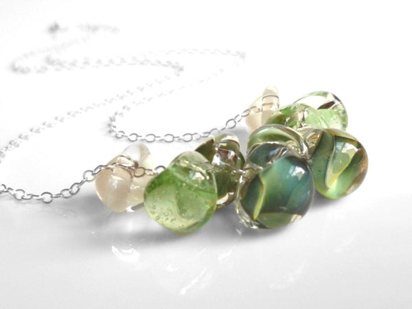 Green Bead Necklace - .925 sterling silver chain / pale glass swirled small tear drops - hints of aqua blue / white / clear - LAGOON