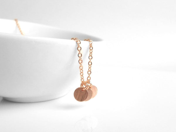 Rose Gold Disc Necklace - little simple trio of flat round blank disks on a delicate pink / rose gold plated chain - minimalist tiny style