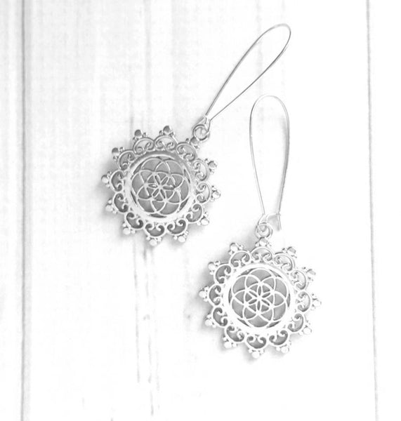 Boho Medallion Earrings - silver long locking kidney ear hooks - intricate round flourish swirl lace doily style filigree Bohemian floral