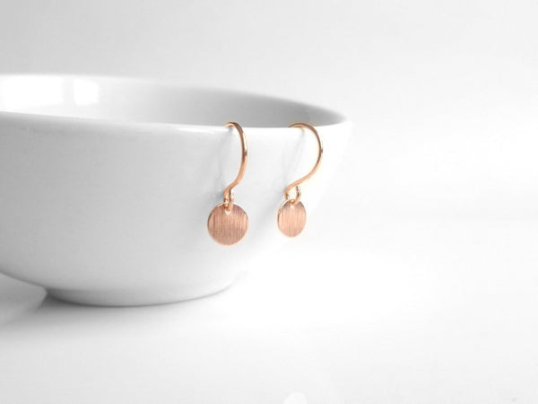 Tiny Disk Earrings - pink rose gold extra small mini round dangles on delicate little French hooks - minimalist style