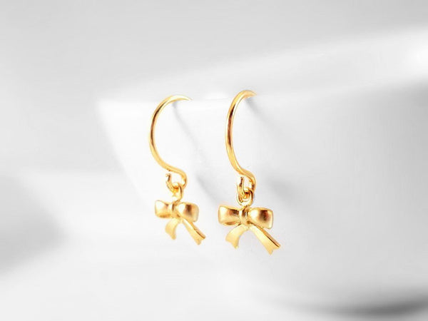 Tiny Gold Bow Earrings - sweet extra little miniature ribbon bows - small simple gold hooks - minimalist delicate dainty feminine style gift