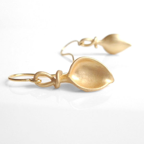 Little Gold Lily Earrings - small elegant matte gold twisted stem flower dangles from simple gold French hook - bridesmaid / wedding jewelry
