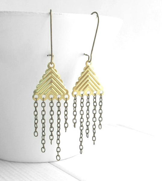 Chain Fringe Earrings - gold brass / antique bronze mixed metal on locking kidney wire hooks - asymmetrical boho chic bohemian gypsy