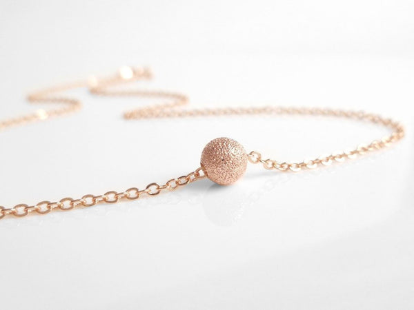 Rose Gold Ball Necklace - simple little rough textured sparkling stardust sphere on delicate pink / rose gold chain - Fly Me to the Moon