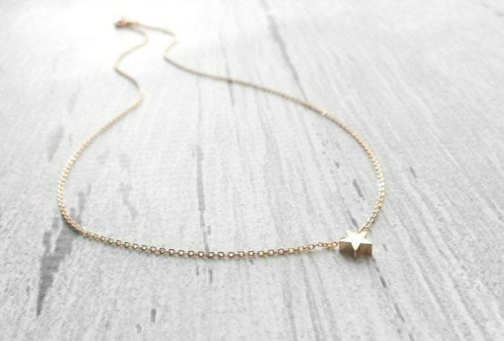 Rose Gold Star Necklace - thin delicate pink gold chain with a small little matte rose gold plated slider pendant / charm - Baby I'm a STAR
