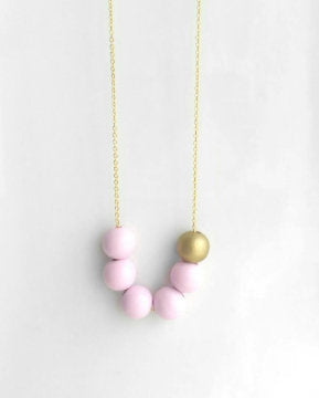 Pink Gold Bead Necklace - long chain with painted round slider wood beads in pastel baby pink and matte gold - trendy gift for her