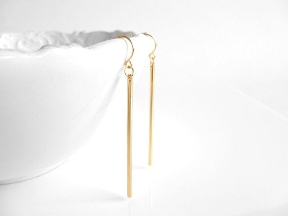 Gold Line Earrings - long thin straight polished sticks dangle from little simple gold hooks - modern minimalist and elegant everyday staple