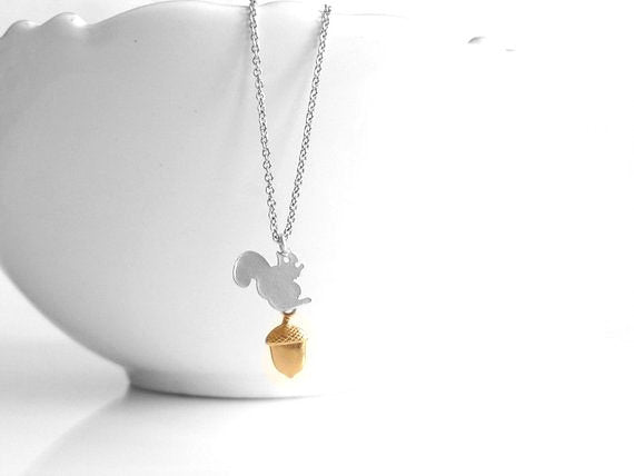 Squirrel Acorn Necklace - little silver squirrel pendant with tiny gold brass acorn charm dangle - delicate thin chain - small woodland nut