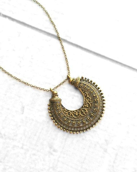 Medallion Necklace - bronze / antique brass ox finish moon shape pendant - Bohemian ethnic tribal boho crescent - filigree floral Moroccan