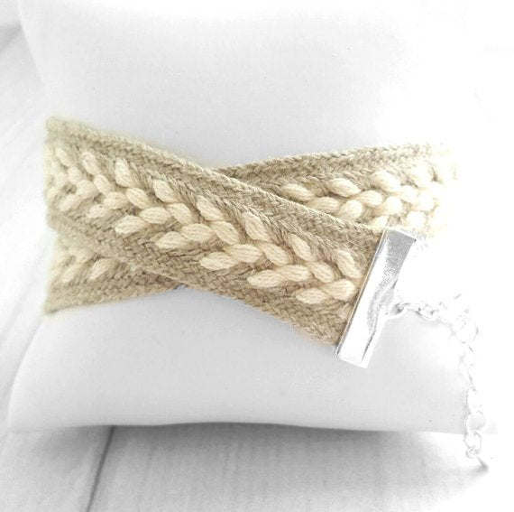 Woven Wrap Bracelet - braided double oatmeal tan beige cream white sweater soft - silver adjustable clasp friendship best friend gift