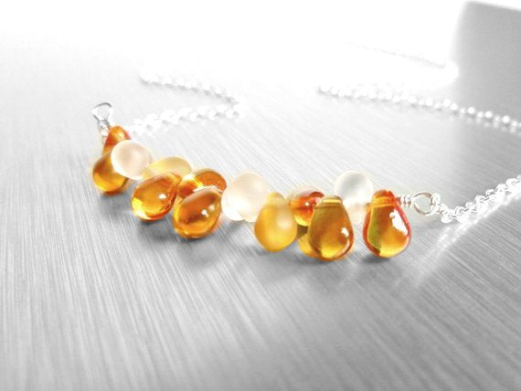 Flame orange necklace - delicate .925 sterling silver chain with tiny glass drops in shades of fire opal / topaz / clear frost