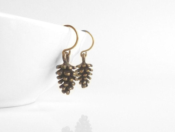 Little Pinecone Earrings - small antique brass / bronze mini harvest fall pine cone charms on tiny hooks - simple / minimalist / everyday