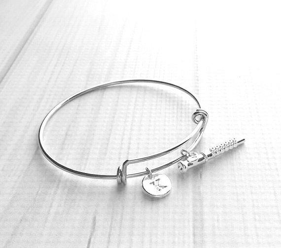 Flute Bangle Bracelet - silver adjustable personalized letter initial monogram charm - marching concert band flautist gift flutist piccolo - Constant Baubling