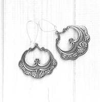 Large Medallion Earrings - ornate antique silver floral leaf stamped design flourish filigree romantic long 3 inch kidney locking wire hoop